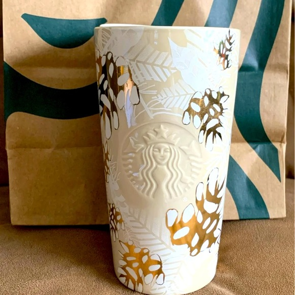 Starbucks Holiday Ceramic Gold Pinecones Tumbler